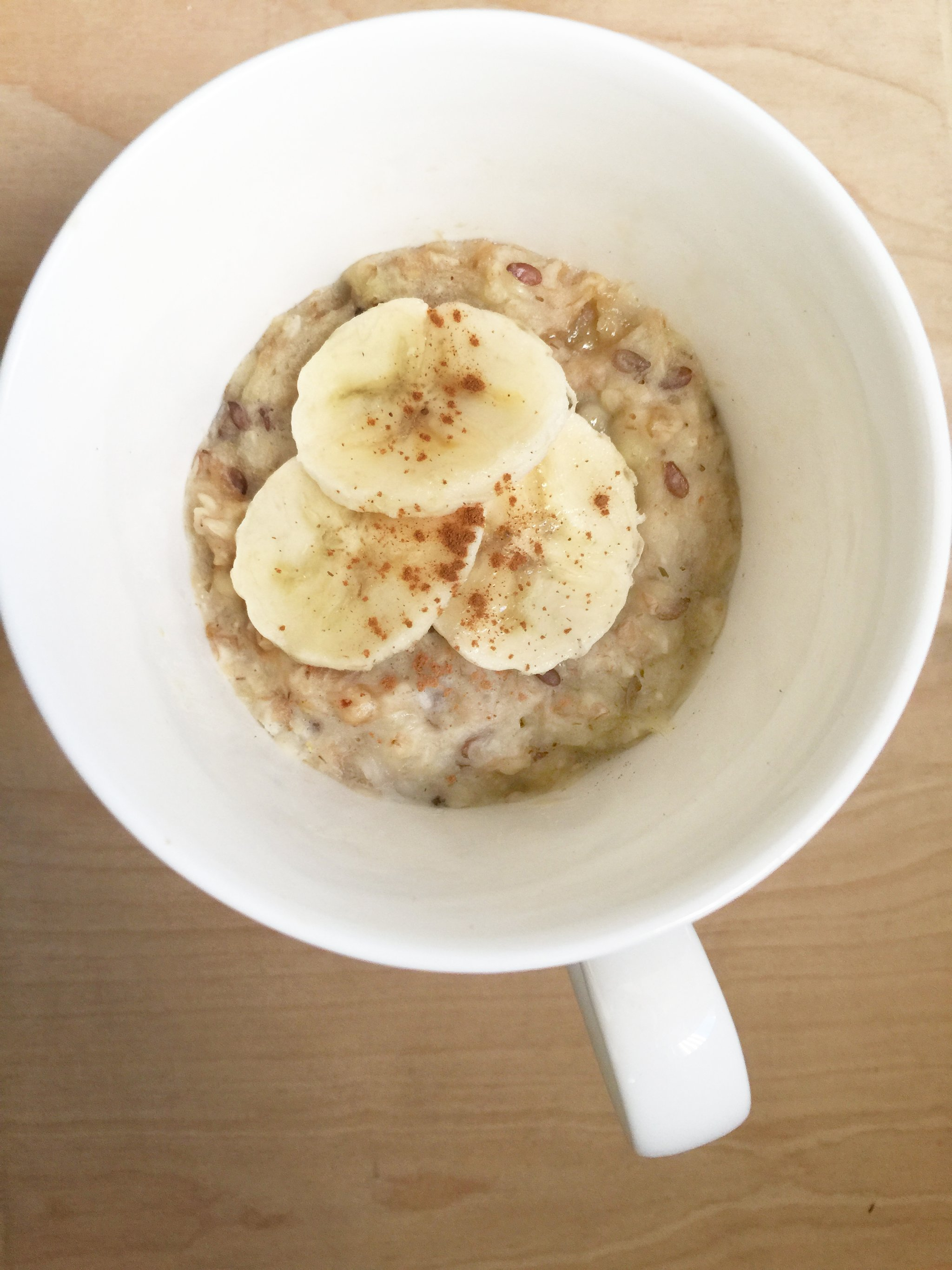 Super Quick Oatmeal And Peanut Butter Breakfast Mug Nourishe